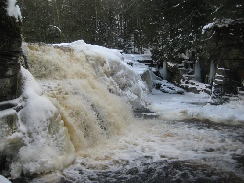 Icy, snow-covered falls