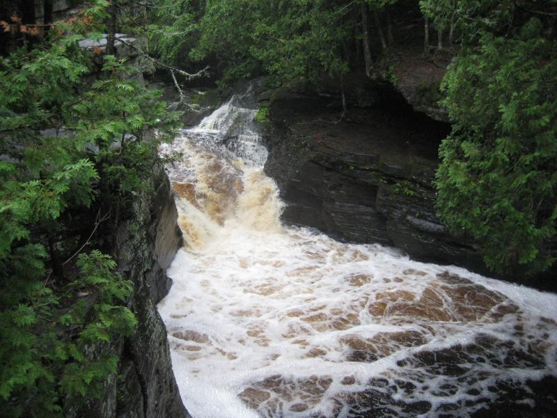 View down at the middle falls