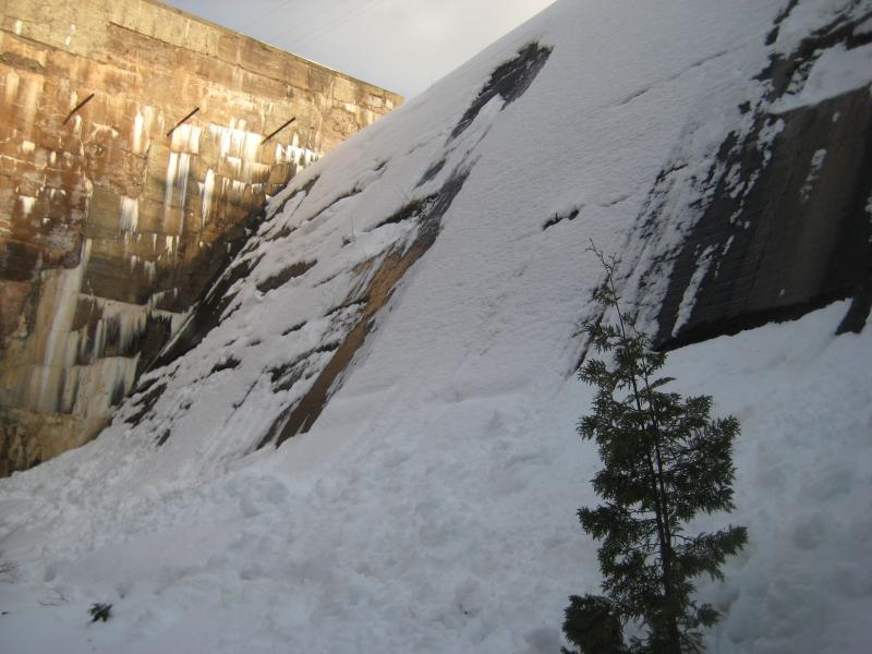 Looking up the snowy dam