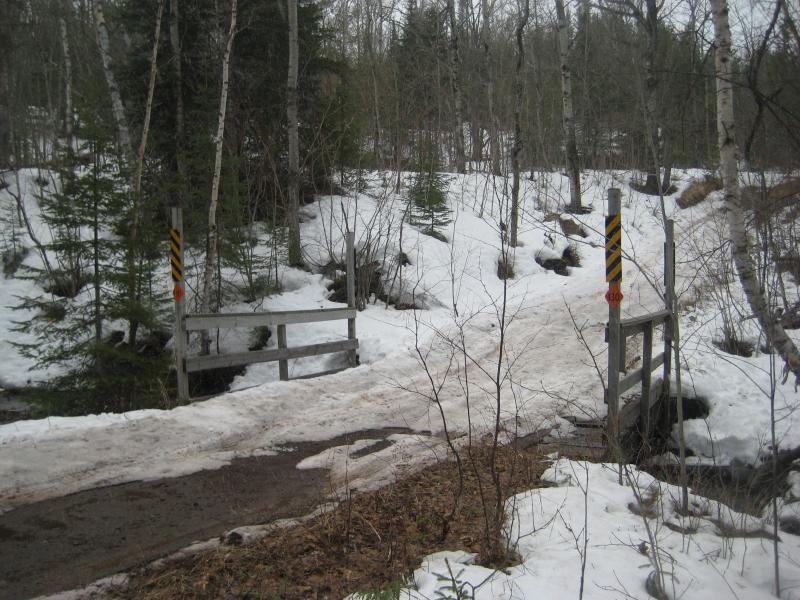 Narrow bridge over the small creek