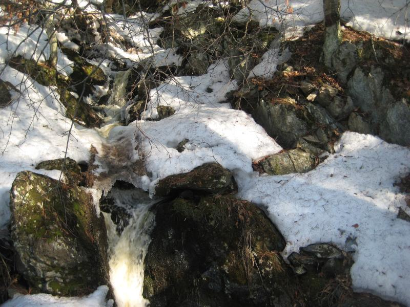 Small narrow chutes between rocks and snow