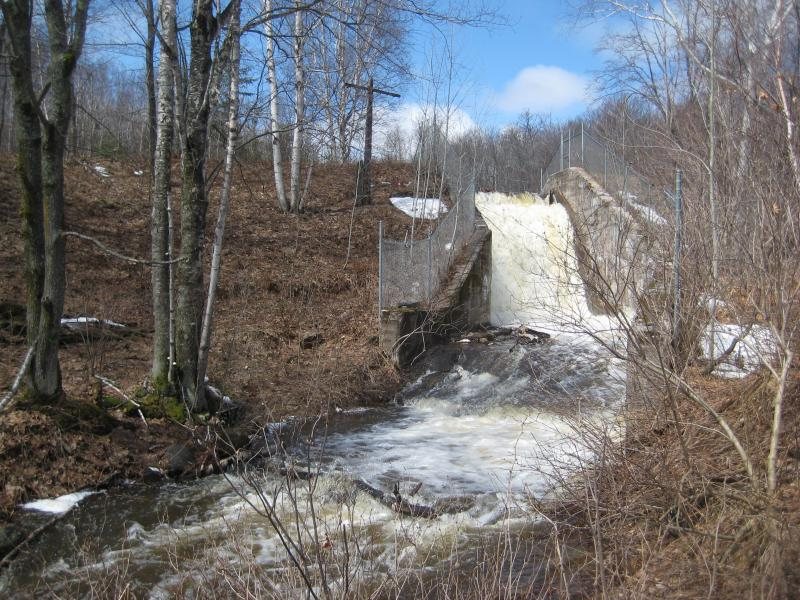 Whitewater flowing down the main dam chute