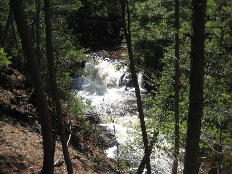 Swollen waters falling over Kukuck's Falls