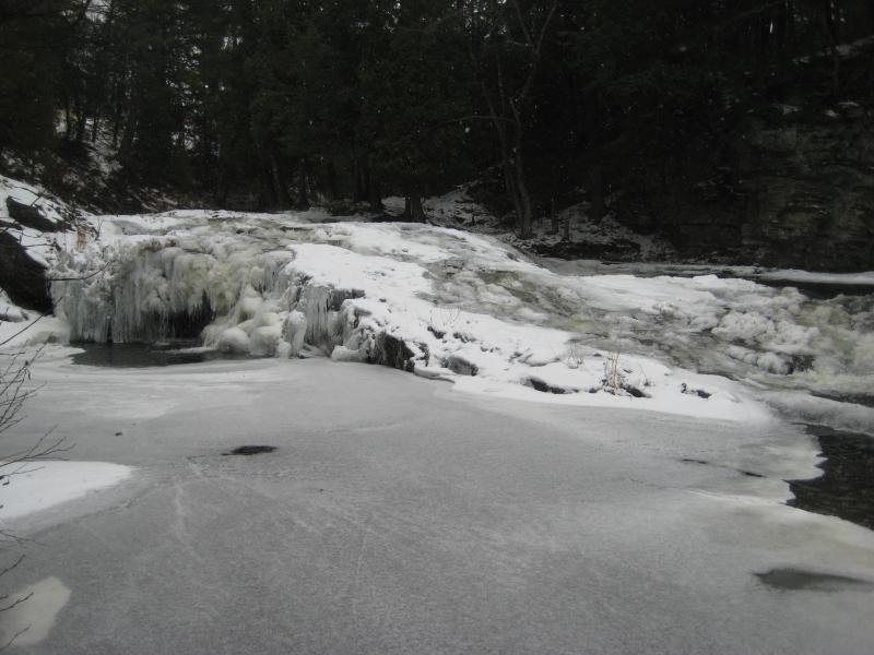 Mounds of ice and snow on the lower falls