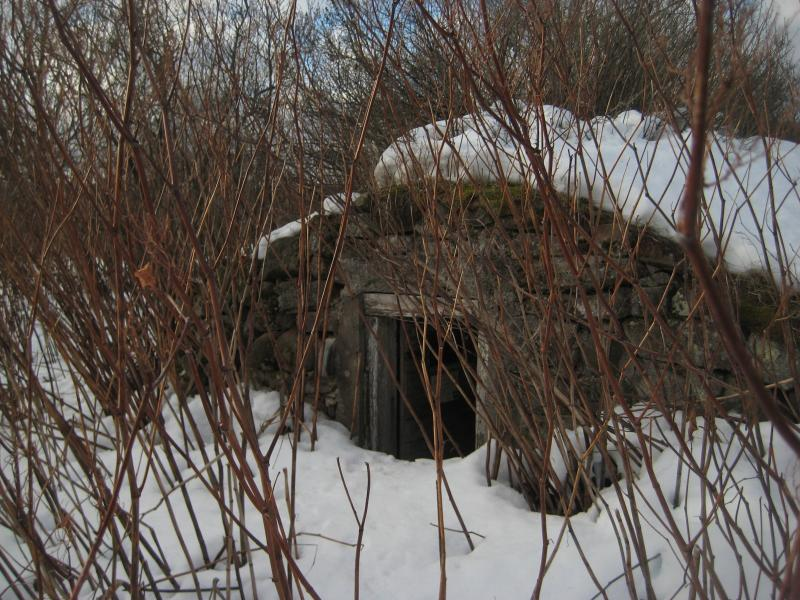 Tiny earthen homestead half-buried in snow