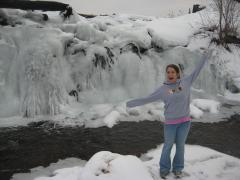 Faith excited about the frozen waterfall