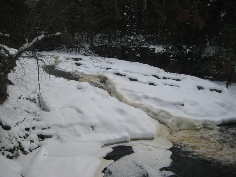 Narrow channels between the snow and ice