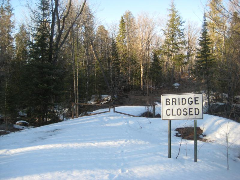 Snow on the closed bridge